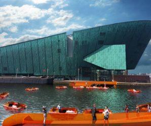 Autonomous robot boats forming ephemeral bridges in Amsterdam